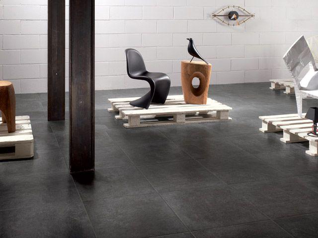 Voici le carrelage choisi pour la piece de vie (Marque Castelvetro, serie TAG, couleur Black Ska)