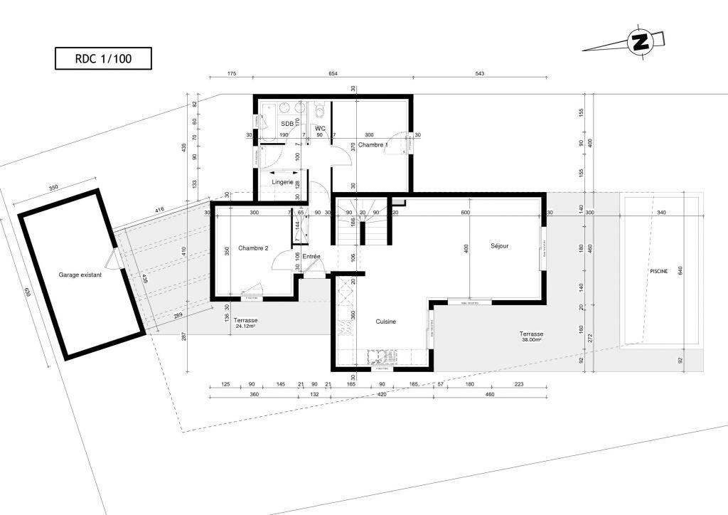 Photo rez de chauss e plan de maison herault 34 - Plan de rez de chaussee ...