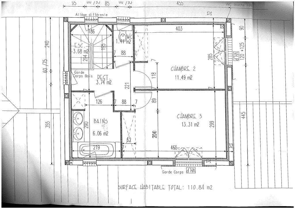 étage, plan modifié depuis : les toilettes ont été mises dans la Salle de Bain et 1 vasque au lieu de 2, afin de dégager de l'espace dans la chambre Nord