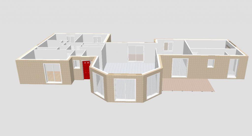 Façade perspective : le plan fourni au constructeur