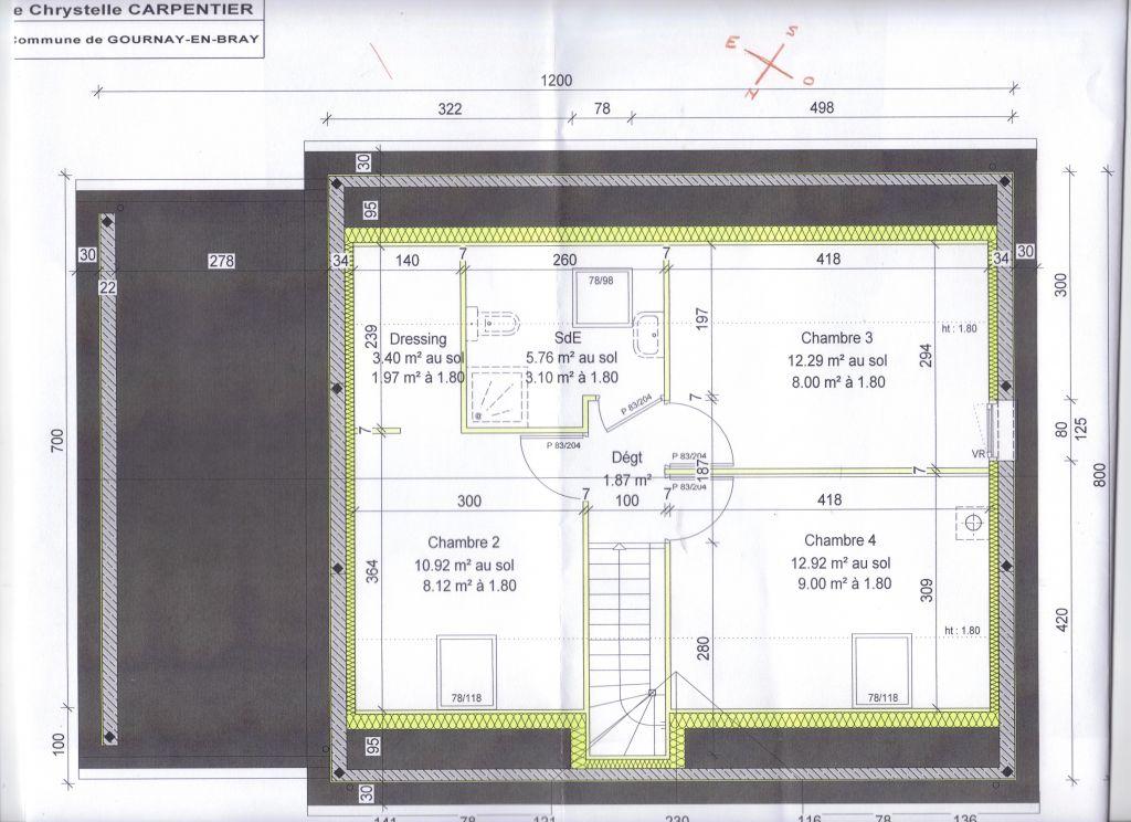 immobilier plan de salle de bain sous pente