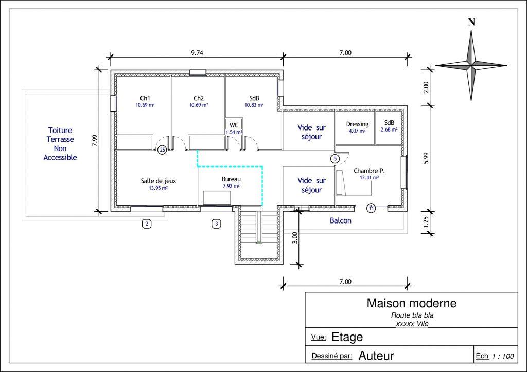 Plan de l'étage en variante