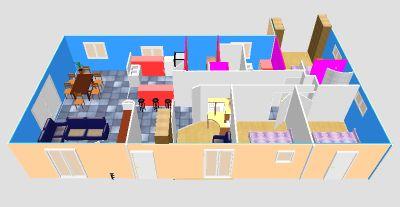 plan maison plain pied 2 chambres 3d