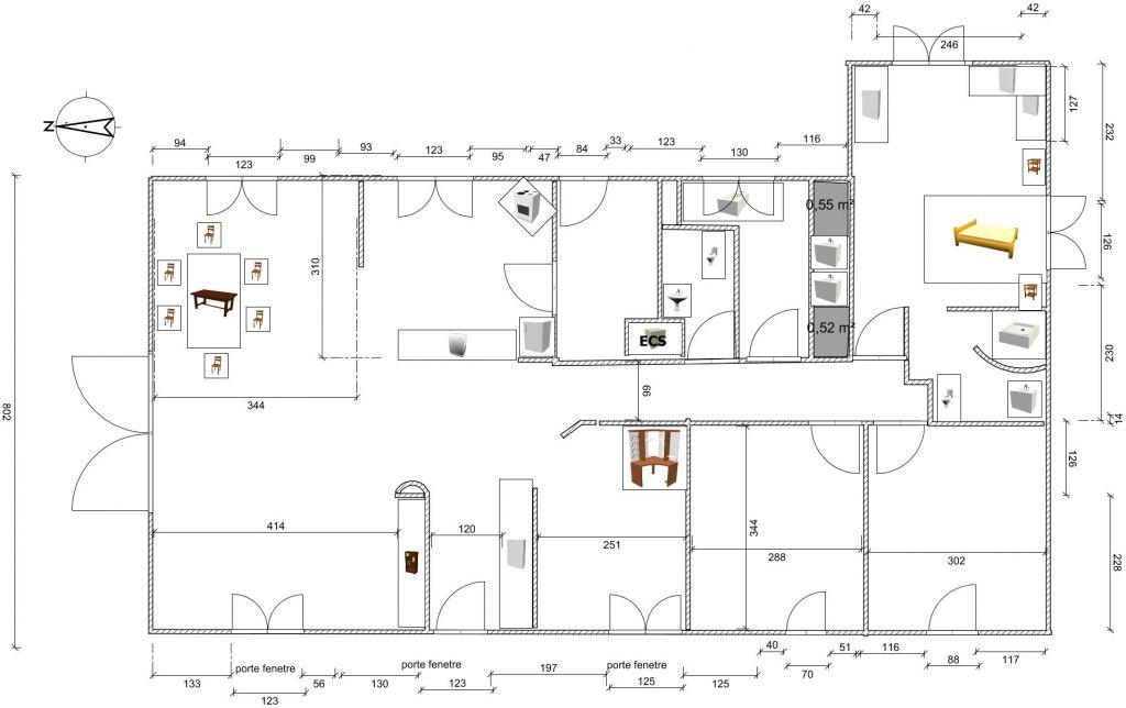 plan de la maison  <br />  <br /> dans la chambre parental une fenetre au dessus du lit a 1.60 m  <br />  <br /> fenetre qui s'ouvre vers l'exterieur sont des baies  <br />  <br /> arriere cuisine une petite fenetre - hauteur 1.6 m
