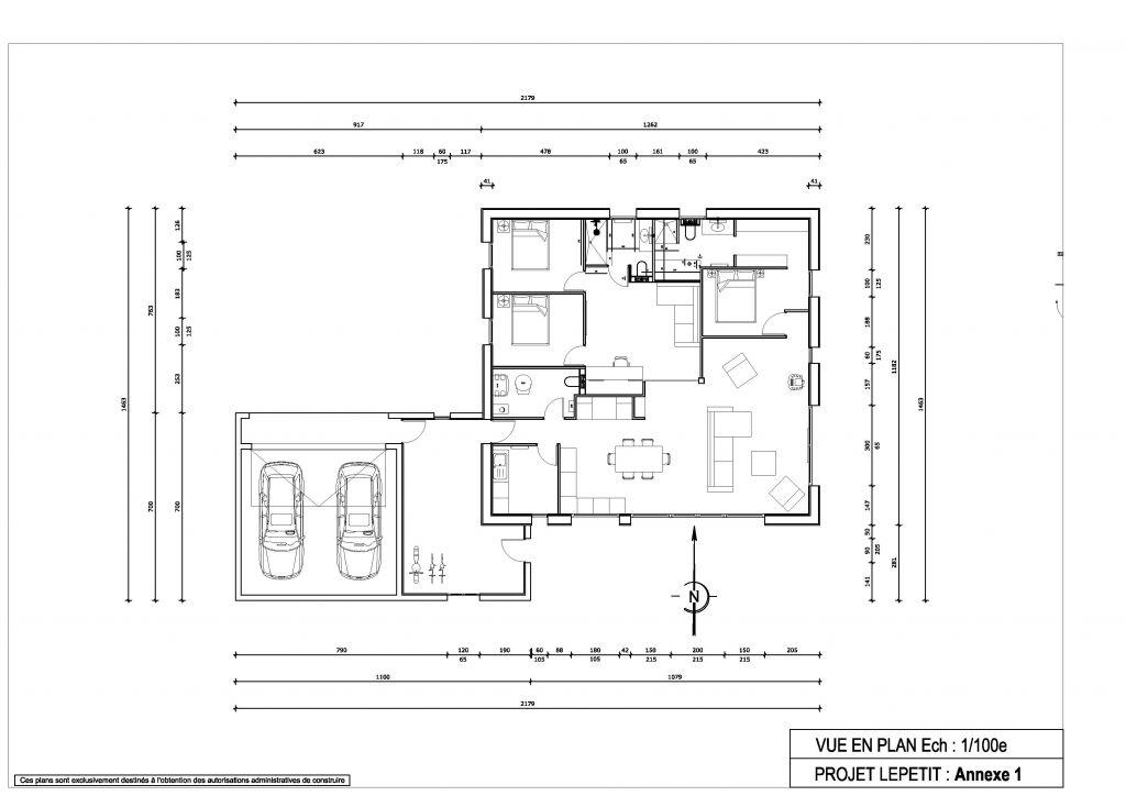 Vue en plan de la maison