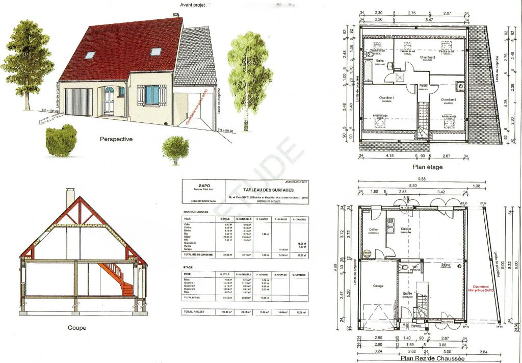 Ce sont les plans de l'avant projet de la maison détaillant la disposition intérieur et les surfaces des pièces.