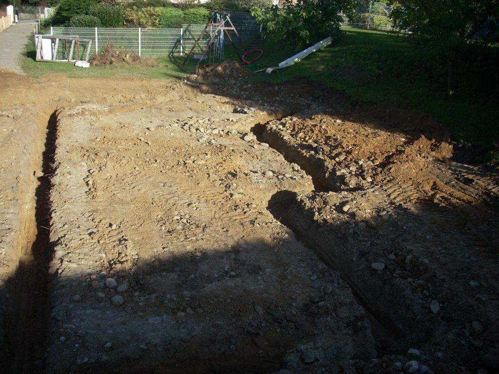 Terrassement fouilles - vue sur la cuisine / salon.