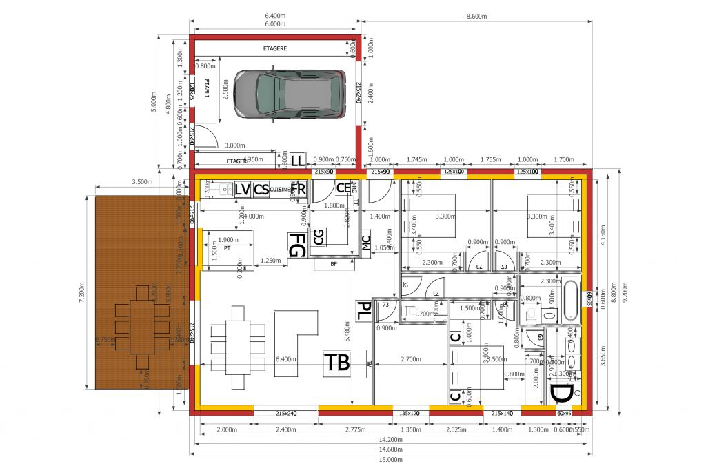 Maison proche bbc ayguesvives 31 ayguesvives haute for Plan maison garage a droite