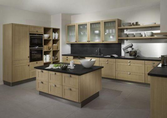 Cuisine grise plan de travail bois maison design - Photo cuisine grise et bois ...