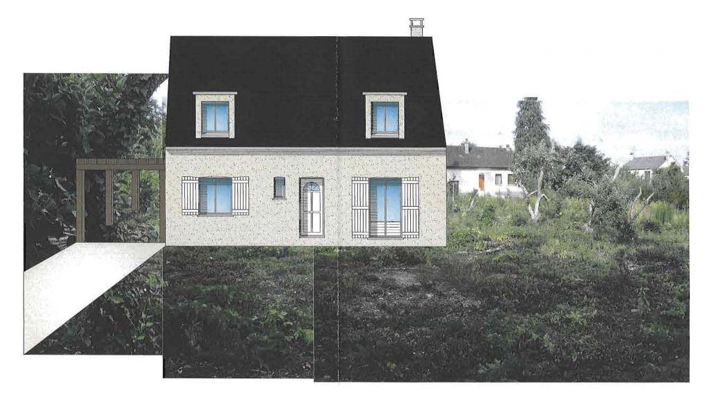 Vue de la maison avec incrustation sur le terrain