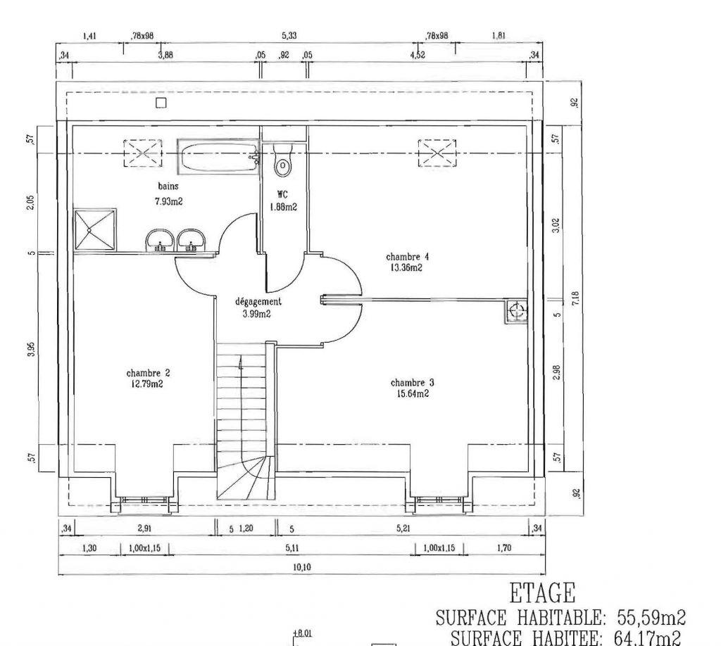 Plan 1er étage (combles aménagées)