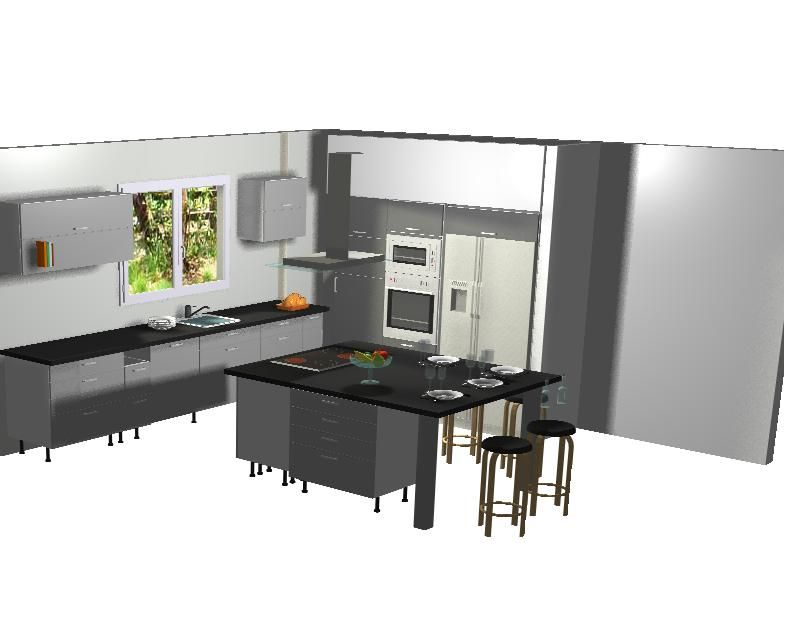 Cuisine avec ilot central plaque de cuisson amnagement for Plan cuisine ilot central table
