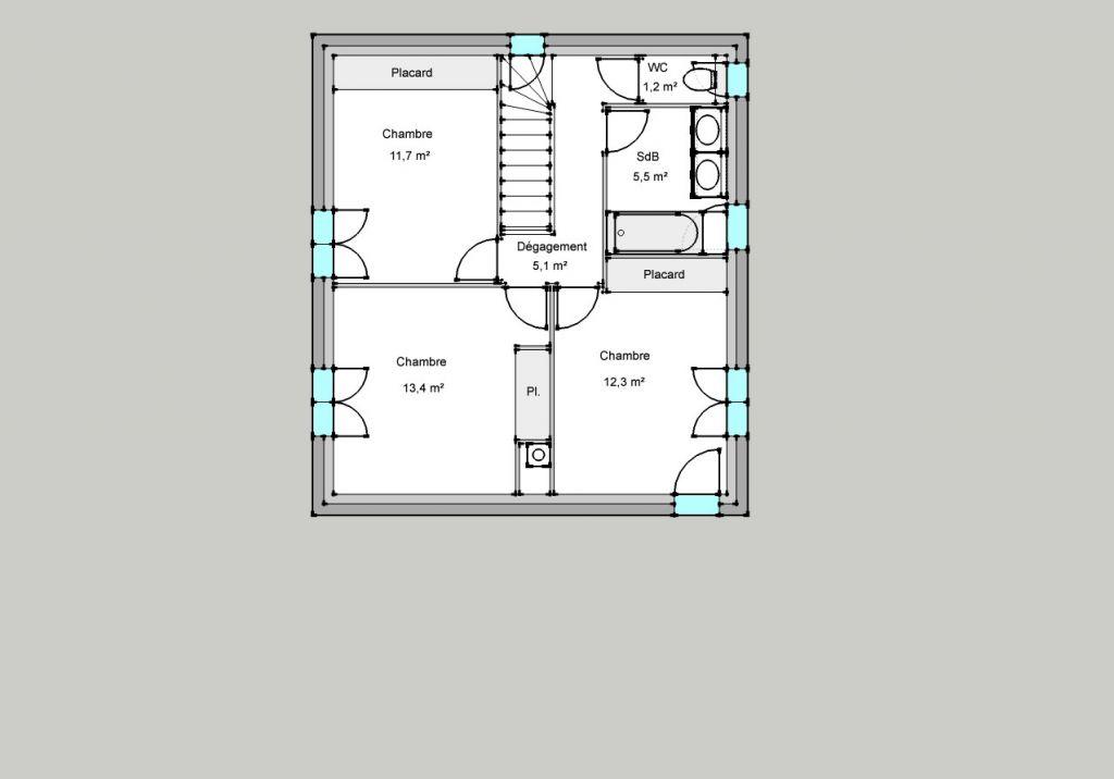 Nouveau plan de l'étage, suite à une mauvaise lecture de l'assiette de servitude sur le plan de vente. Relativement peu de changements.