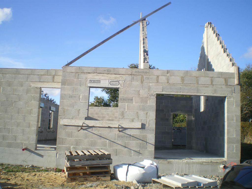 Vue de devant (façade SUD) - Porte d'entrée, fenêtre cuisine, garage - pignons montés