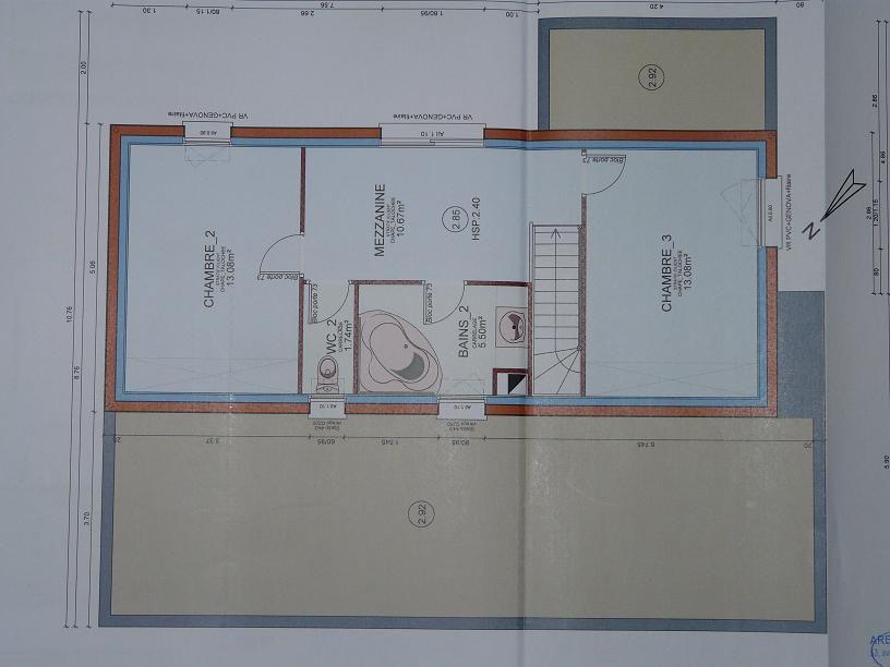 Plan de l'étage ! A noter qu'au dessus du garage et au dessus du salon, la dalle permet par la suite de mettre des modules de pièces supplémentaires si nous souhaitons agrandir !