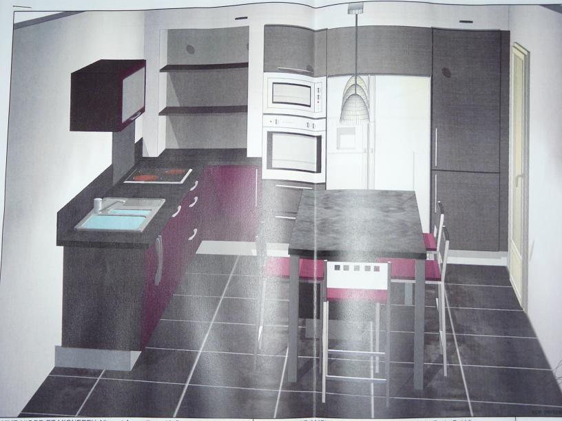 Vue 3D de la cuisine avec ilot central