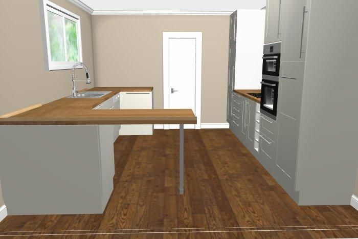 cuisine en L avec séparation, vue 1
