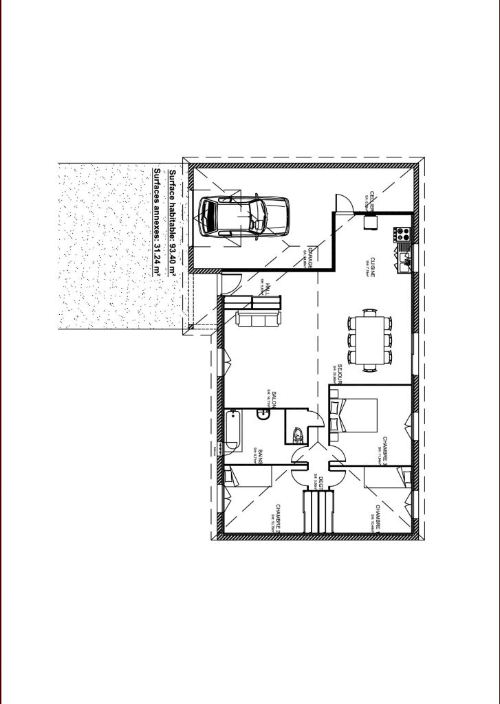 Plan de maison 100m2 avec garage gascity for for Plan maison 100m2
