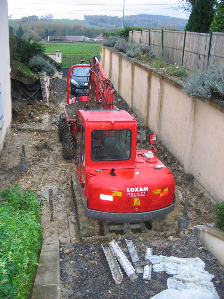 évacuation de la boue venant des pieux