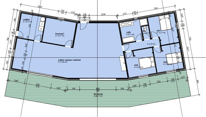 Plan de la maison... Un salon / Salle à manger / Cuisine qui me fait rêver