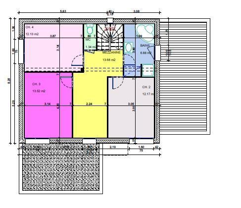 Plan détaillé de l'étage.