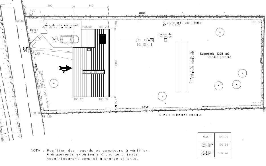 plan de masse pour permis de construire  - photo en page 1 du récit...