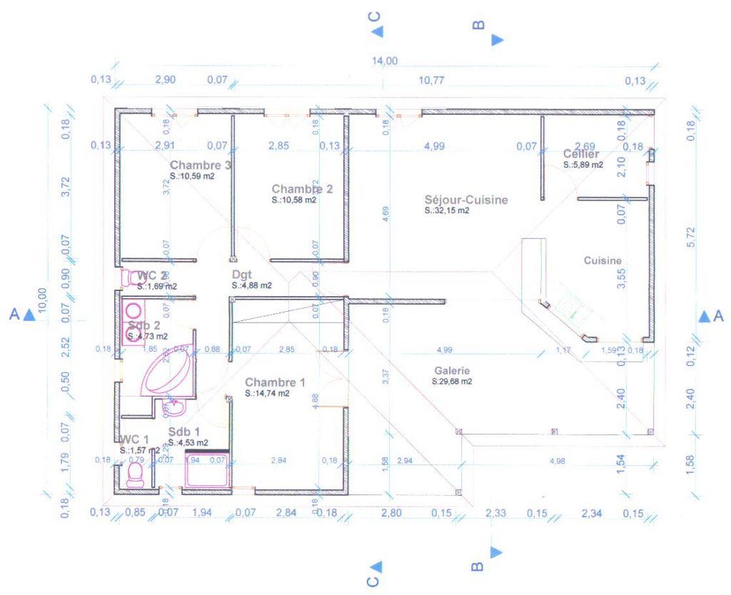 Plan de la maison (il y a eu depuis des petites modifications sur le plan mais le nouveau plan est en A3 je ne peux pas le scanner)