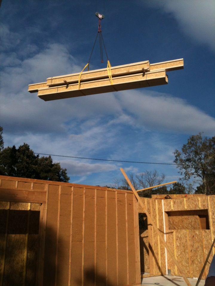 livraison du bois pour le premier étage