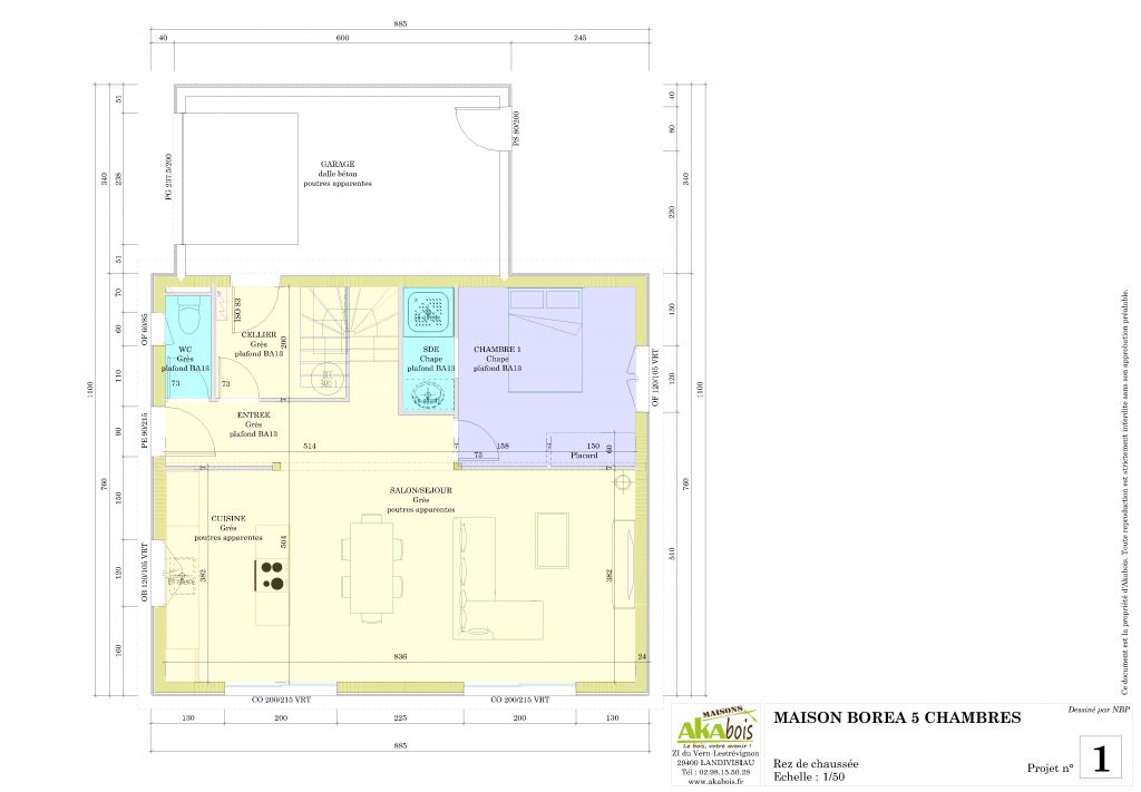Notre projet de maison bbc en ossature bois plougonvelin for Ajout garage maison