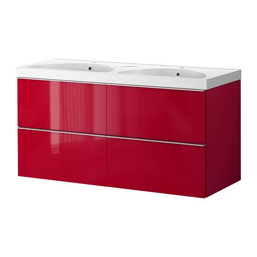Meuble de salle de bain sur lequel j'ai des vues pour ma salle de bain rouge et blanche!