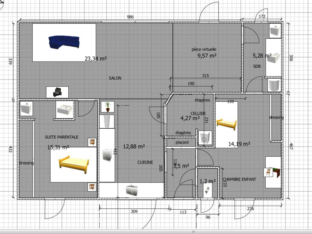 Vos avis sur un plan de maison plain pied 90m 44 messages for Concevez vos plans de maison