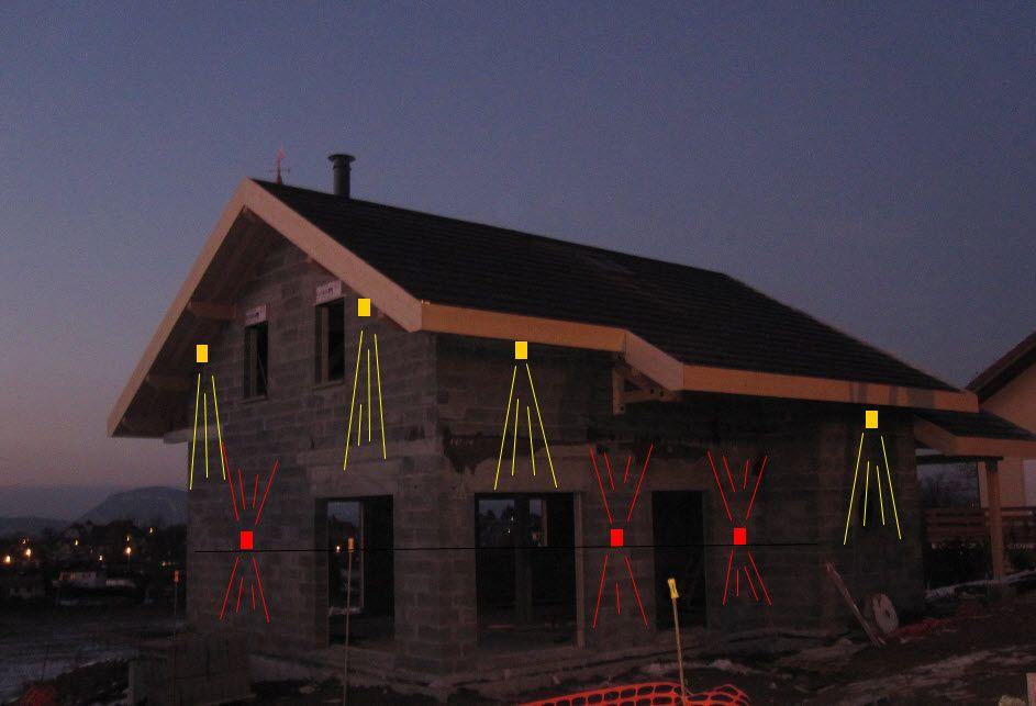 dessin pour la disposition des éclairages extérieurs des façades