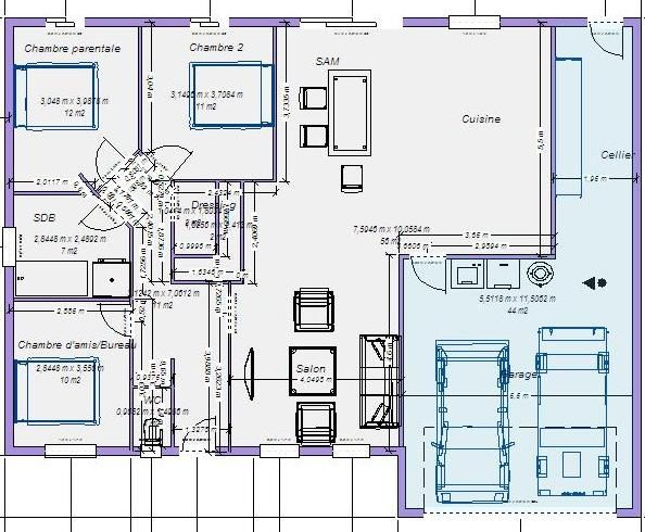Plan De Maison 100m2 Affordable Plan Maison M Etages Beau Plan