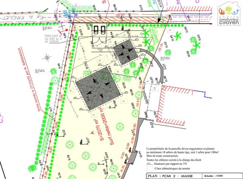 Implantation des maisons sur le terrain