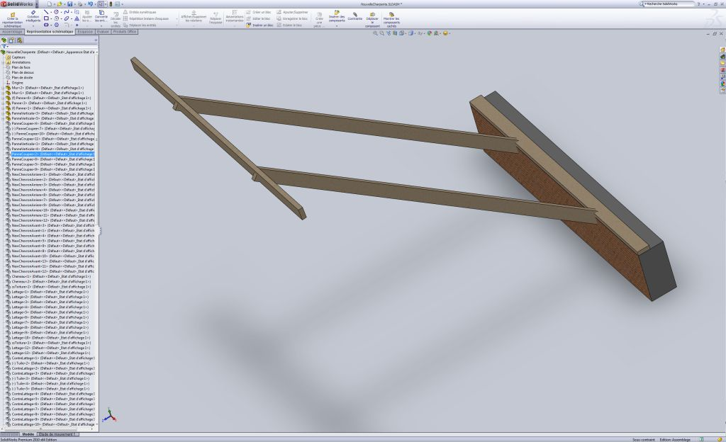 Etape 2 de la charpente : Pose des pannes verticales