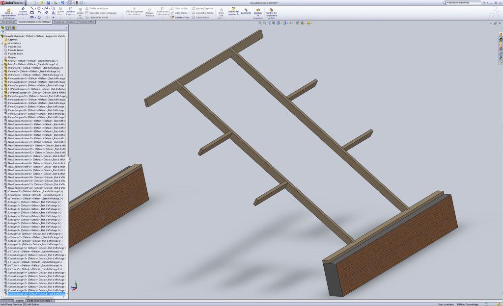 Etape 4 : On ajoute les pannes horizontales au murs.