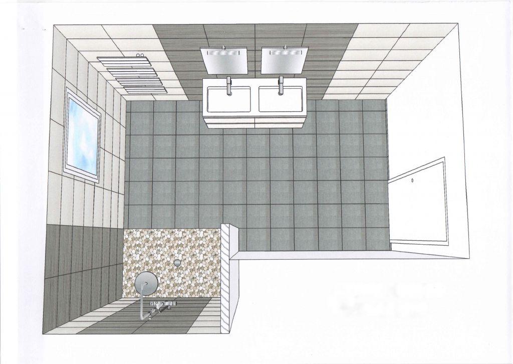 Zoom sur la salle de bains zoom sur les placards for Plan de salle de bain avec douche et baignoire
