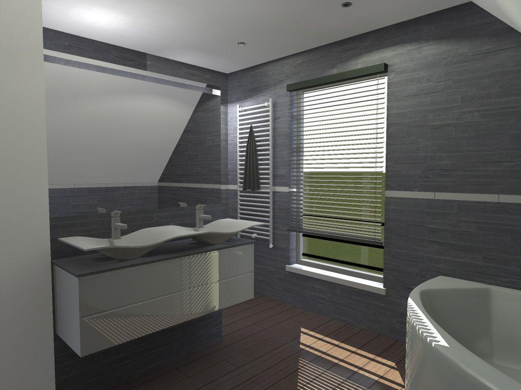 SDB, la douche se trouve derrière les vasques.