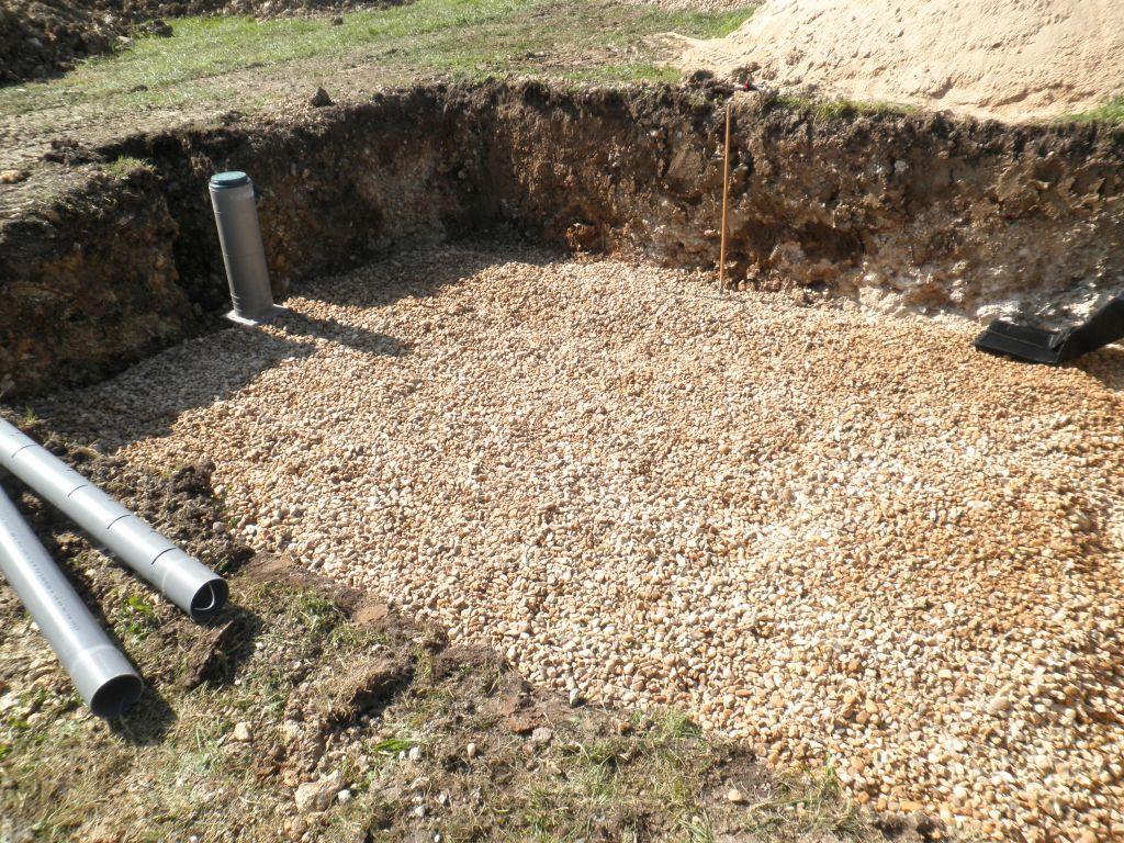 Les drains sont totalement recouverts de galet.
