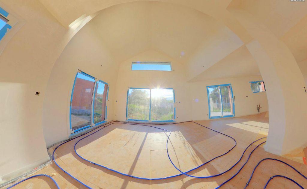 panoramique 360 de la mise en place du plancher chauffant ajout de spots encastr s coulage. Black Bedroom Furniture Sets. Home Design Ideas
