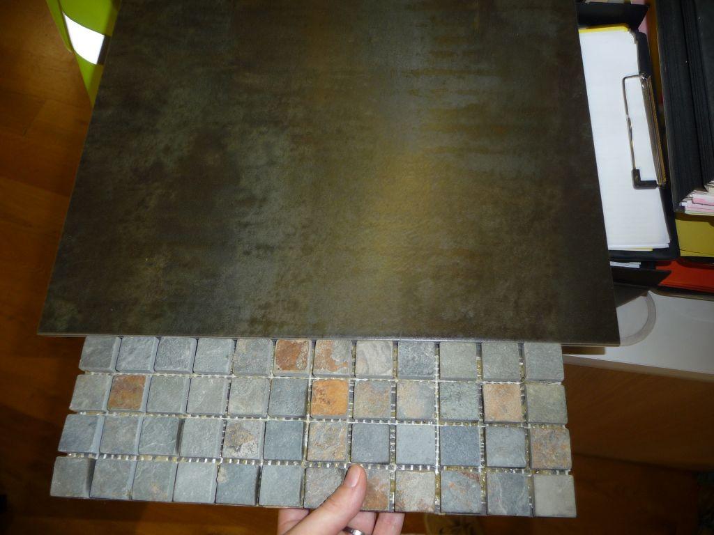 Choix des faïences de la salle de bain des parents <br /> mosaïque : sol de la douche à l'italienne, oxido : sol de la salle de bain