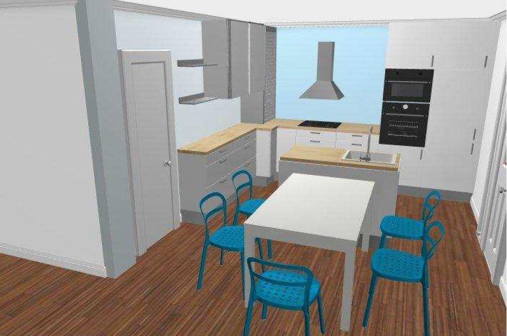 Vue 3D cuisine avec Ilôt Central