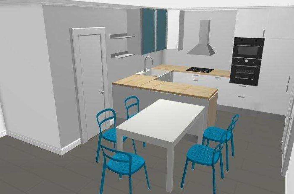 Vue 3D cuisine en U