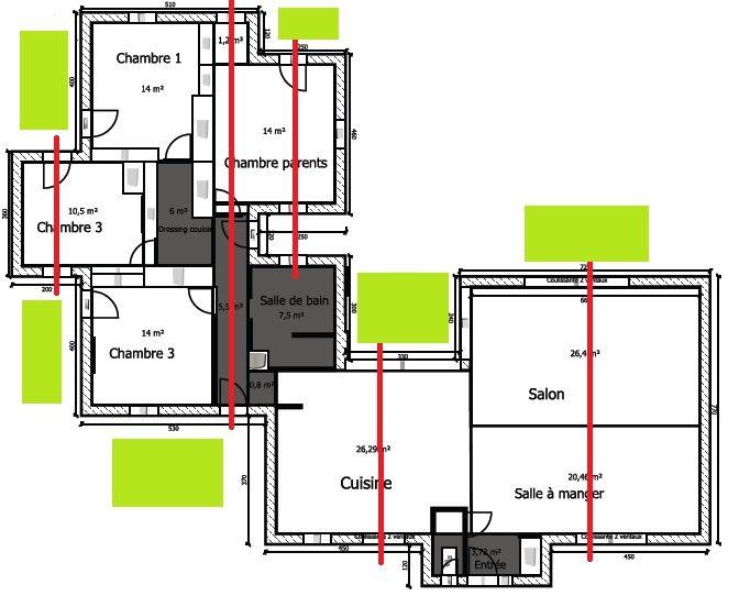 Plan original avec perspectives et terrasses