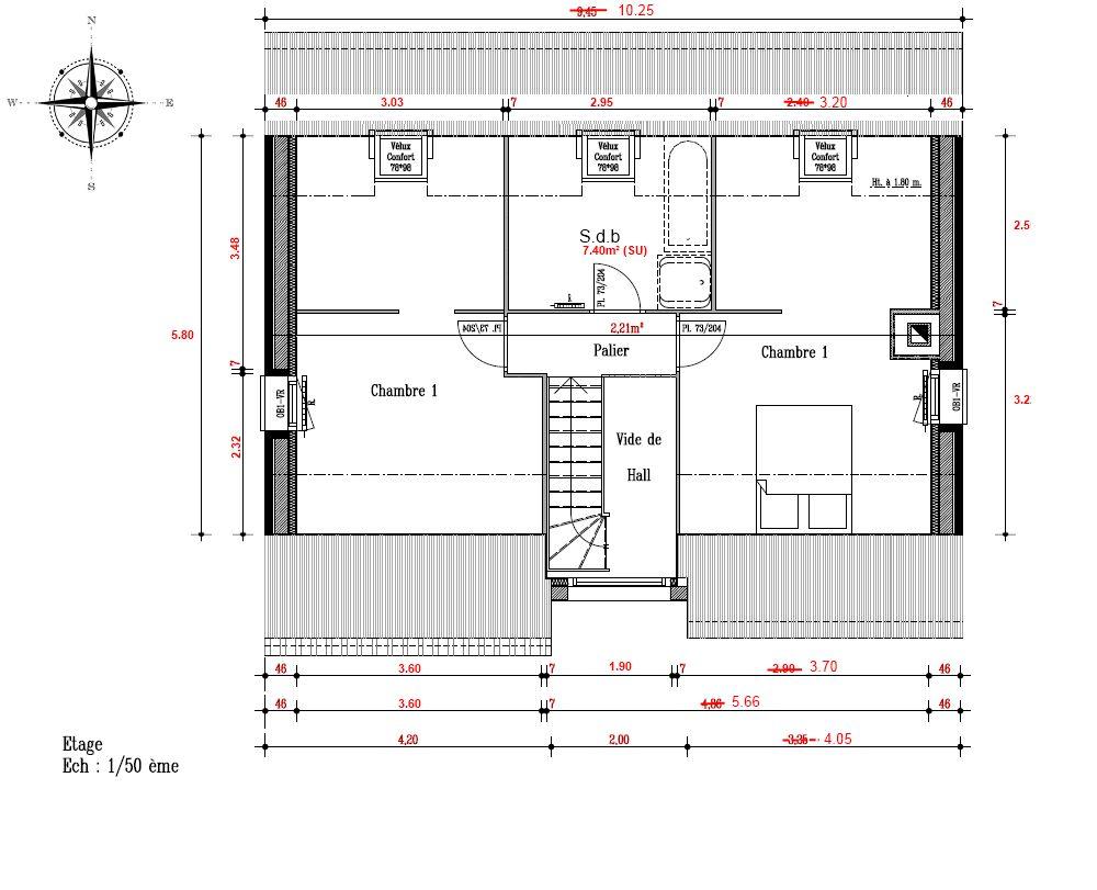 Etage de la maison en version agrandie (  80 cm sur la droite)