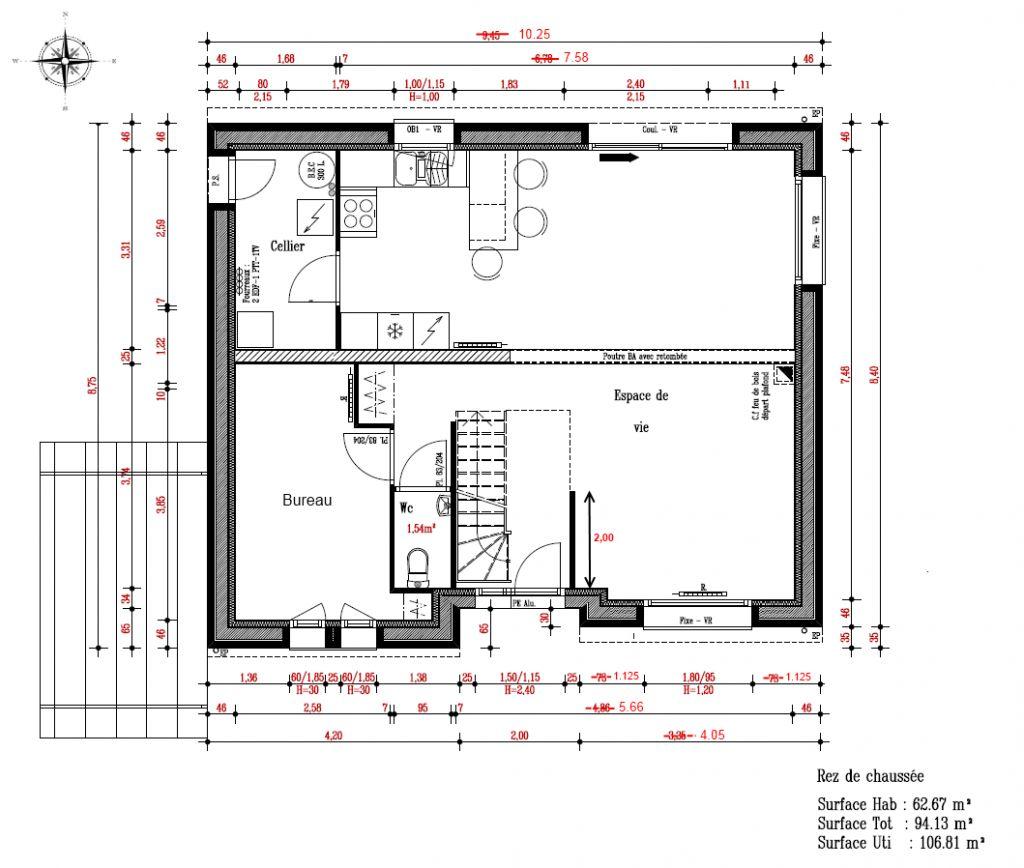 RDC de la maison en version agrandie (  80 cm sur la droite)