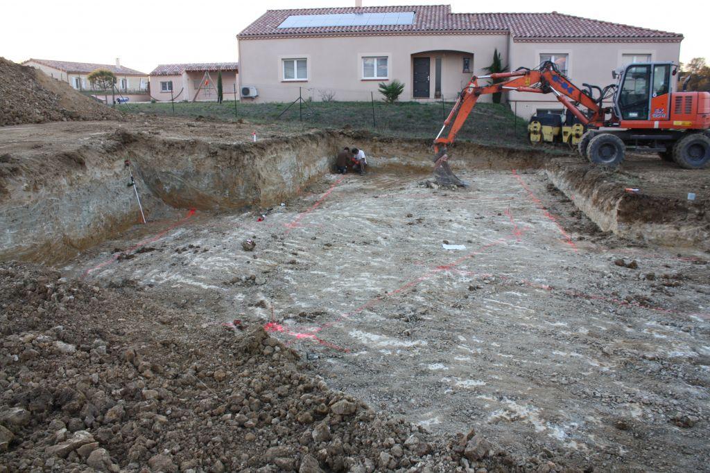 Plate forme avec tracé des fondations