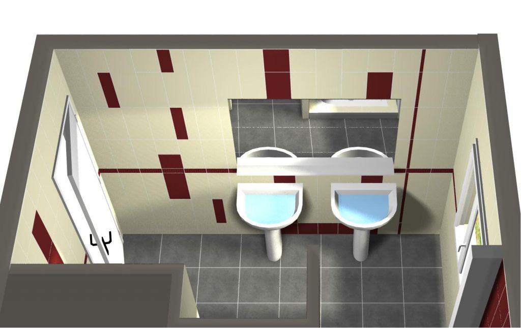 Plans et etudes faience salle de bains carrelage for Faience salle de bain rouge et blanc