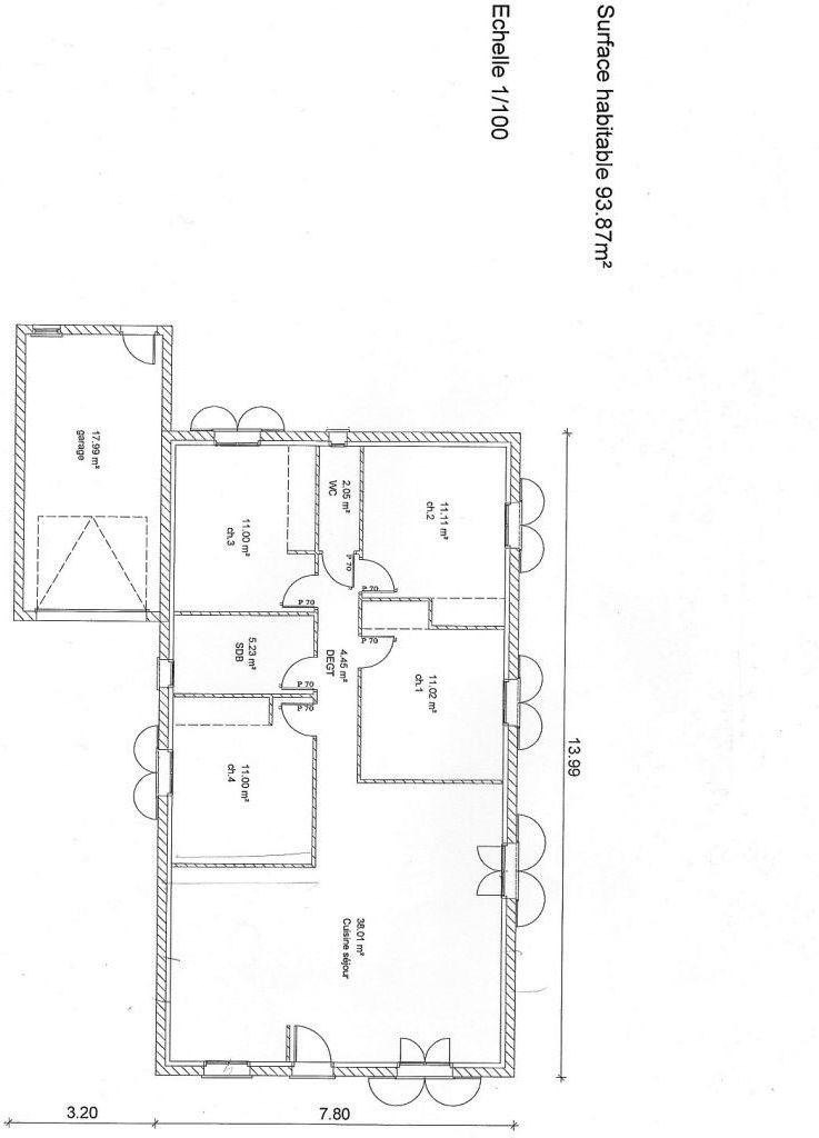 Plan de la maison avec le garage qui n'était pas prévu à la base. <br /> Avec ou sans le garage ça ne changeait pas beaucoup le prix du coup on l'a ajouté.