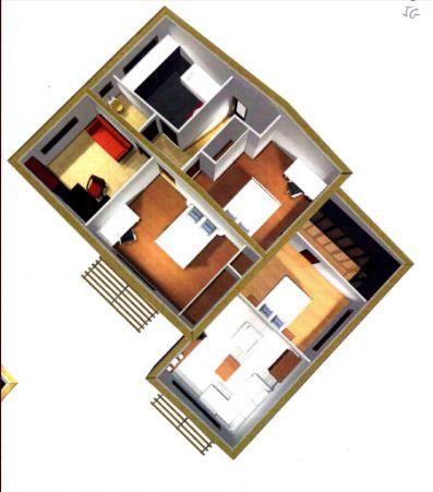 Plan de l'étage (le RDC apparait en dessous mais on ne le voit pas de l'étage)